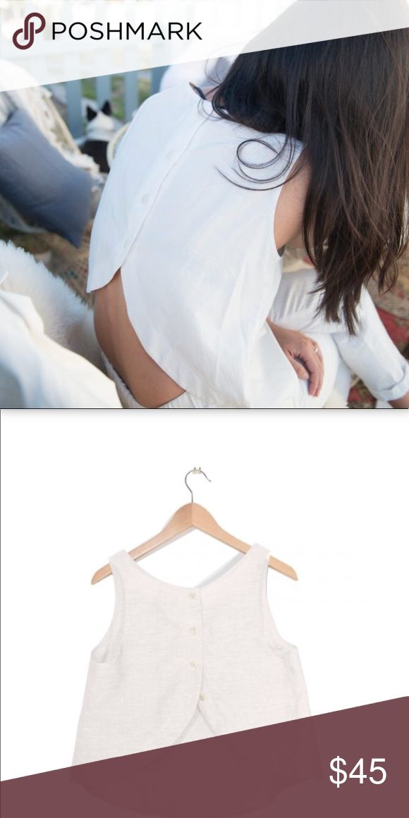 Button back linen tank by Coast NWT Corozo nut buttons Draped design with peek a boo back 100% Belgian Flax Linen Made in USA Coast Tops Tank Tops