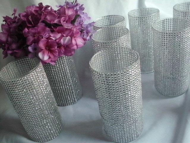 10 BLING Wedding Decorating Vases - Bouquet Holders, Centerpieces, Cocktail Hour Decor. $75.00, via Etsy.
