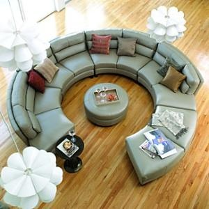 Conversation couch. Yeah, if we are ever uber rich, I will have one of these in a room just devoted to hanging out. No tv; just this couch, a snack bar,  great decor, & friends.: Decor, Sofa, Ideas, Living Rooms, Dream House, Livingroom, Circle Couch, Furniture, Space