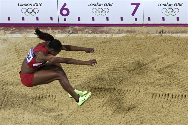 Occupational therapy graduate Janay DeLoach long jumps in the Olympics. She won the bronze medal!