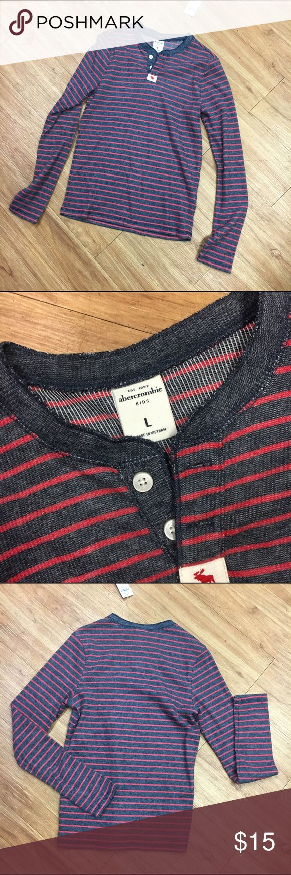 NEW NWT Abercrombie Navy Red Stripe Shirt L Large NEW NWT Abercrombie Navy Red Stripe Shirt L Large  Abercrombie says a large is a 14 but ymmv.  ;-)  New with tags henley style lightweight shirt.  Kind of a thermal-y ribbed knit feel but not heavy.  #new #nwt #stripe #striped #stripes #red #navy #shirt #henley #newneverworn abercrombie kids Shirts & Tops Tees - Long Sleeve
