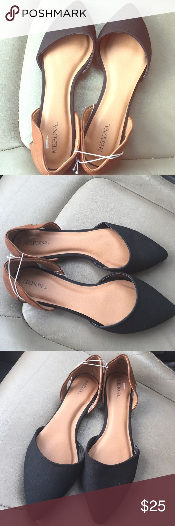 Brand new trendy black & brown pointed flats Brand new, never worn black & brown pointed flats - superrrr cute shoes! perfect for work, a casual day or night out! size 11 Shoes Flats & Loafers