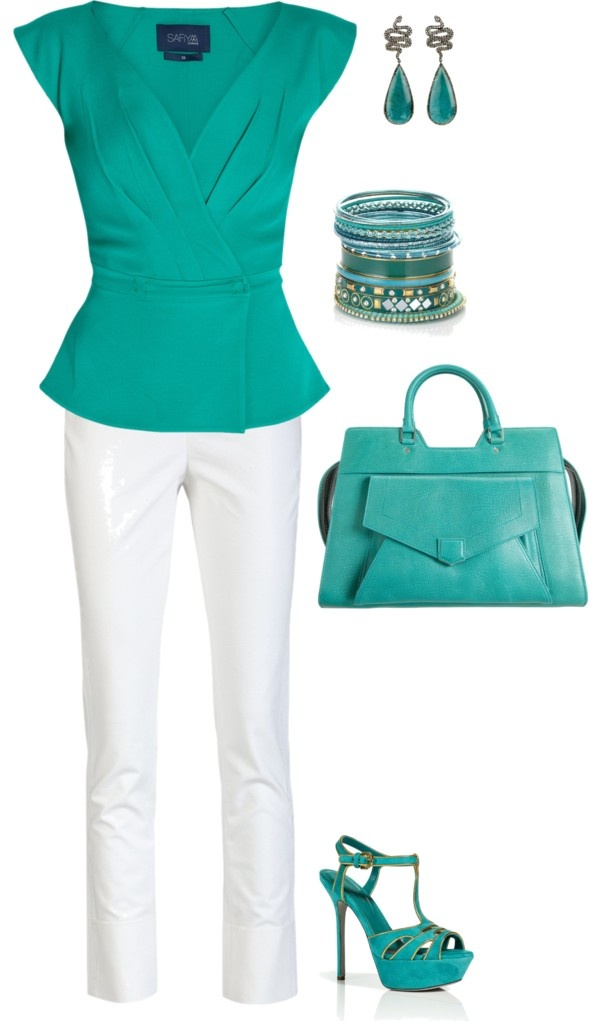 """Be Green...summer work outfit"" by amythystqu on Polyvore"