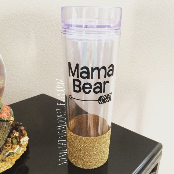 Hey Mama Bear! Go ahead and treat yourself (or a friend) to this adorable glitter-dipped skinny tumbler :)  Tumbler is double-walled and made of