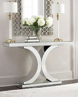 Splendora Mirrored Console Neiman Marcus Horchow Hollywood Glam Modern Table | eBay