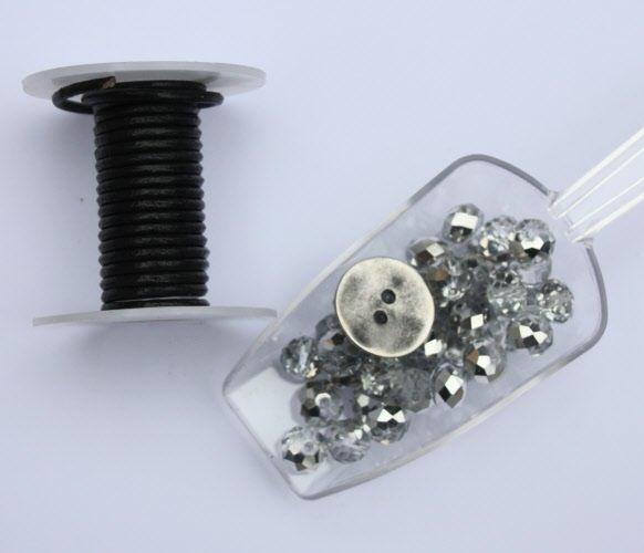 DIY & have fun! Luxe pakket zwart-transparant met metalen knoop