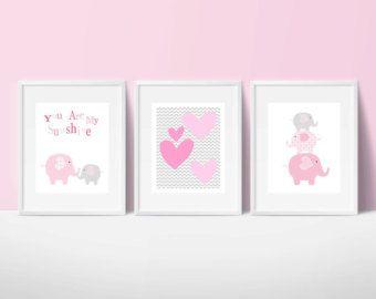 Éléphants crèche imprimable art ensemble par PinkMilkshakeDigiArt