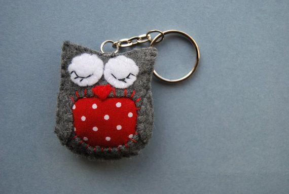 Felt Animal Keyring  Felt Owl  cute grey and by magicforesttoys, €9.00