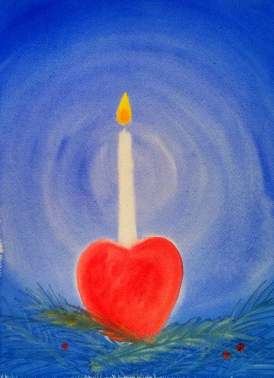 This watercolor reminds me of the apple with its candle and carried by a child in the Advent spiral.