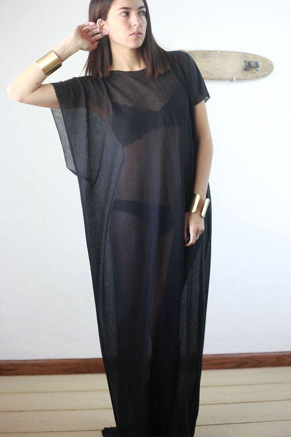 black semi sheer long draped kaftan maxi dress by boneandmini, $58.00 Missed it for my vacation