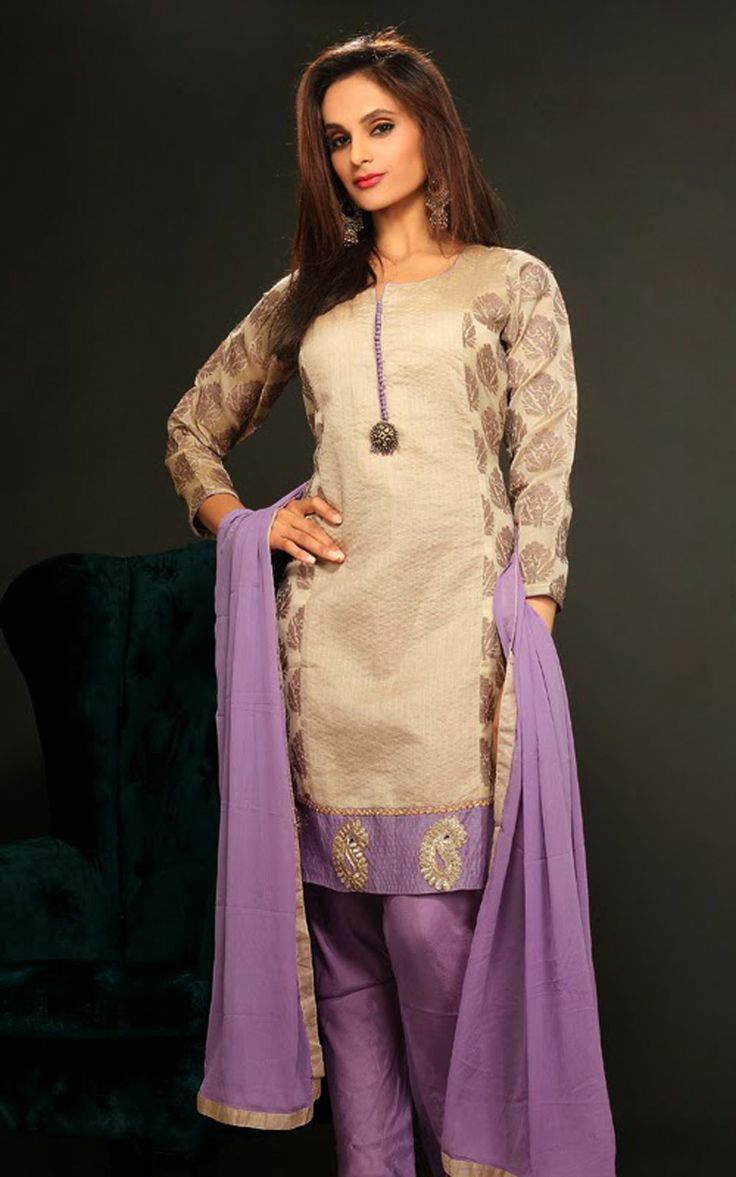 BEIGE & PURPLE CHANDERI COTTON SALWAR KAMEEZ - DIF 29724
