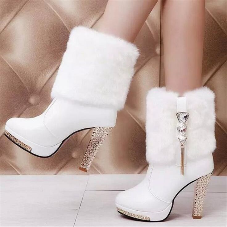 QGXSSHI 2017 Winter new women's high-heeled fur Rhinestones fashion boots  waterproof Big girl Young students children warm boots