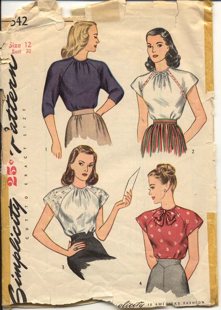 """Simplicity 1542 Misses #1940s #vintage blouse. Another great example of gathering along the neckline. The #vintageinspiration for our """"Harvest Moon Ball"""" top: http://vinsinn.com/ladies/tops/harvest-moon-ball-top.html"""