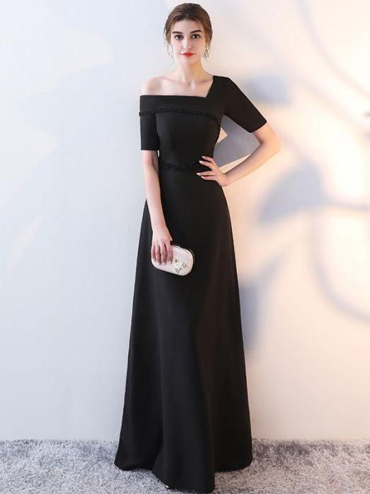 884a82a9c79 Chic A-line Off-the-shoulder Black Simple Modest Long Prom Dress Evening  Dress AM571