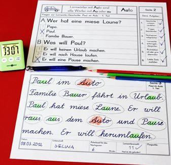 Übungseinheit des Schreibschrift-/Lese-/Rechtschreibtrainings in Lateinischer Ausgangsschrift