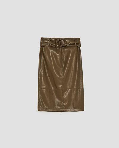 ベルト付きレザーテイストスカート-ミディアム-スカート-レディ-ス | ZARA 日本