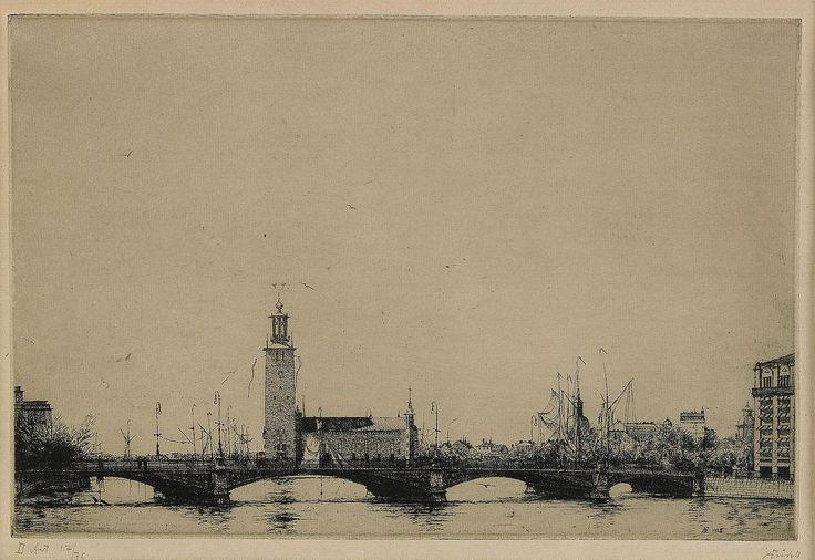 iamjapanese:  Axel Fridell(Swedish, 1894-1935)  Stadshuset i Stockholm I  1925  etching