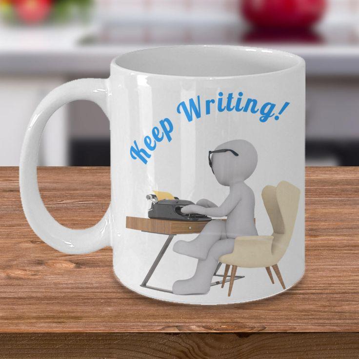 Author Mug 'Keep Writing' Double-Sided Print, 11oz or 15oz, black or white by PortunaghDesign on Etsy