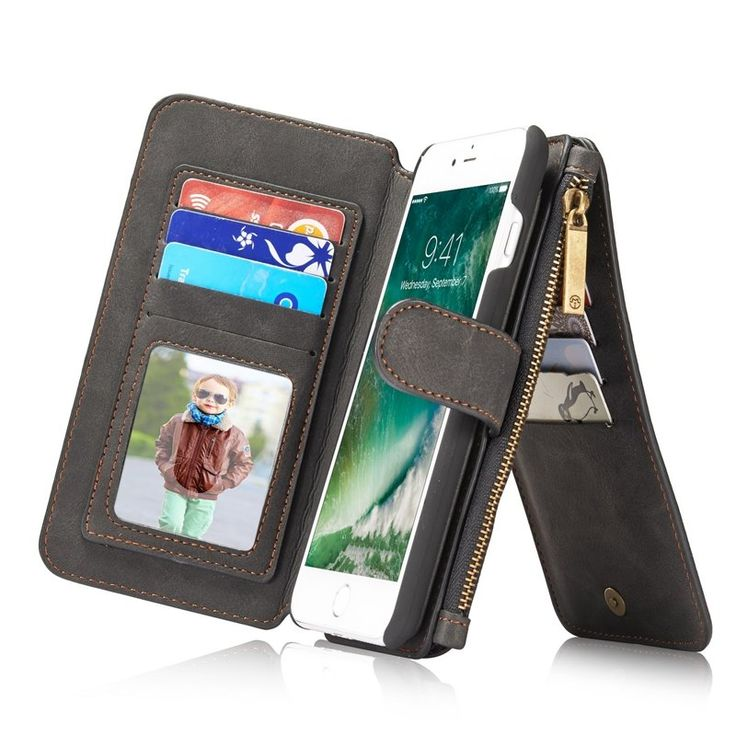 CaseMe Magnetic Detachable Zipper Wallet Case For iPhone 7 Plus/8 Plus Sale - Banggood.com