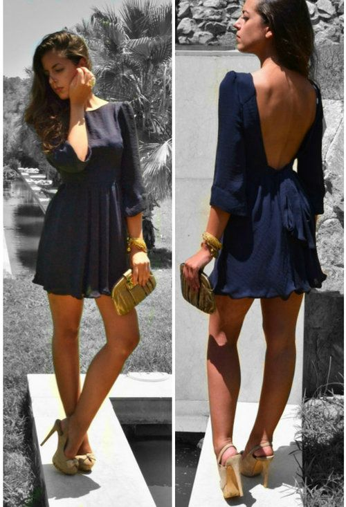 Backless navy.Fashion, Style, Backless Dresses, Clothing, Cute Dresses, Low Back Dresses, Navy Dresses, Open Backs, The Dresses