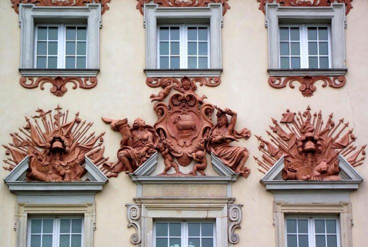 Bieliński coat of arms (Junosza) surrounded by a panoply of late baroque decorations on the main facade of the Palace in Otwock Wielki, attributed to Ambroggio Gatti, ca. 1696