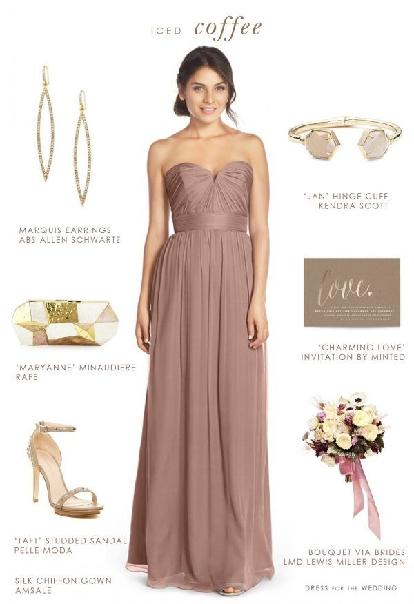 Latte and Gold Bridesmaid Look from /dressforwedding/ on /aislesociety/
