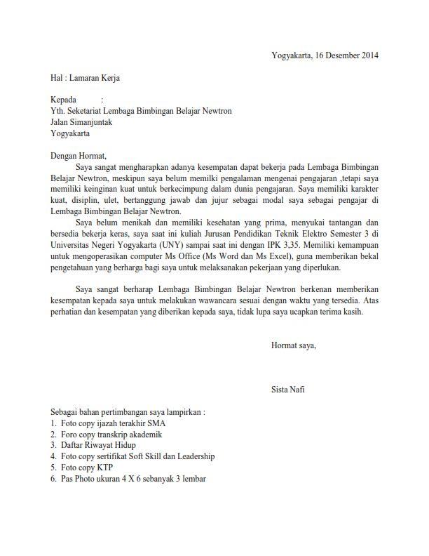 contoh cv guru bimbel  contoh surat lamaran kerja di