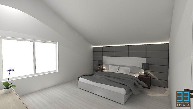 Moderne slaapkamer in wit en accenten van grijs. Achterwand in stoffen panelen.  Modern bedroom in white colors and grey accents.