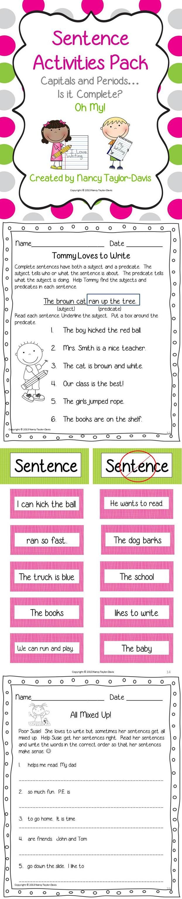 Teaching students to write complete sentences is an important skill. This packet includes resources and activities to help you address: •Subjects and predicates (4 activities/ printables) •Complete sentences (3 activities/ printables) •Word order in sentences (3 activities/ printables) •Capitalization /punctuation of sentences (3 activities/ printables) •Both color and black and white copies $2