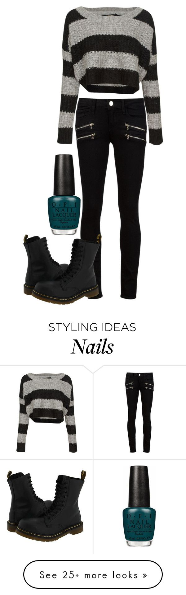 """Punk Rock 101"" by gracerose03 on Polyvore featuring QED London, Paige Denim, Dr. Martens, OPI, women's clothing, women's fashion, women, female, woman and misses"