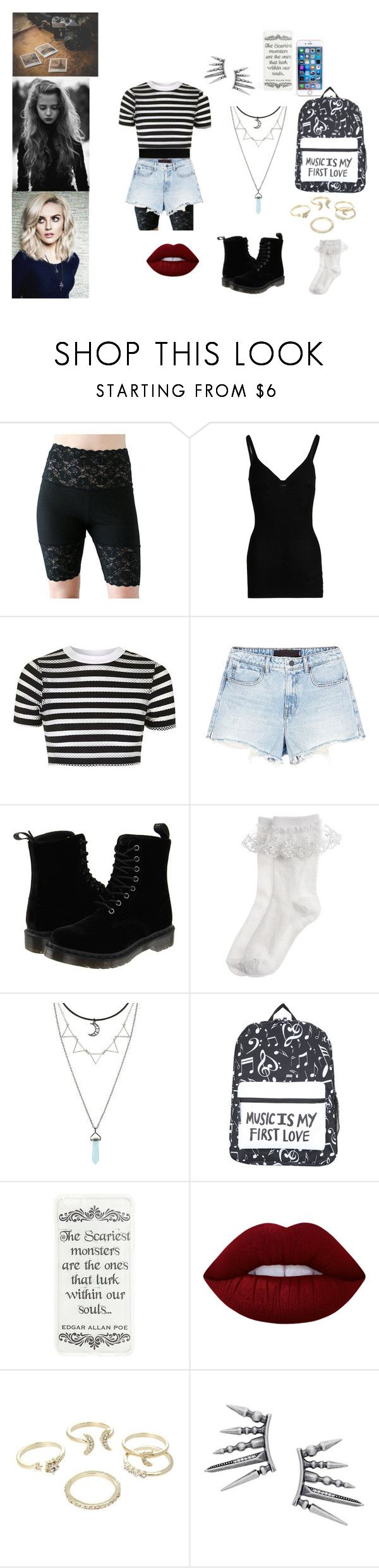 """""""Perrie Edwards"""" by cmouton on Polyvore featuring Wolford, Topshop, Alexander Wang, Dr. Martens, Monsoon, Lime Crime and Lipsy"""