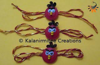 Quilled Angry Bird Rakhis - Visit http://www.kalanirmitee.com