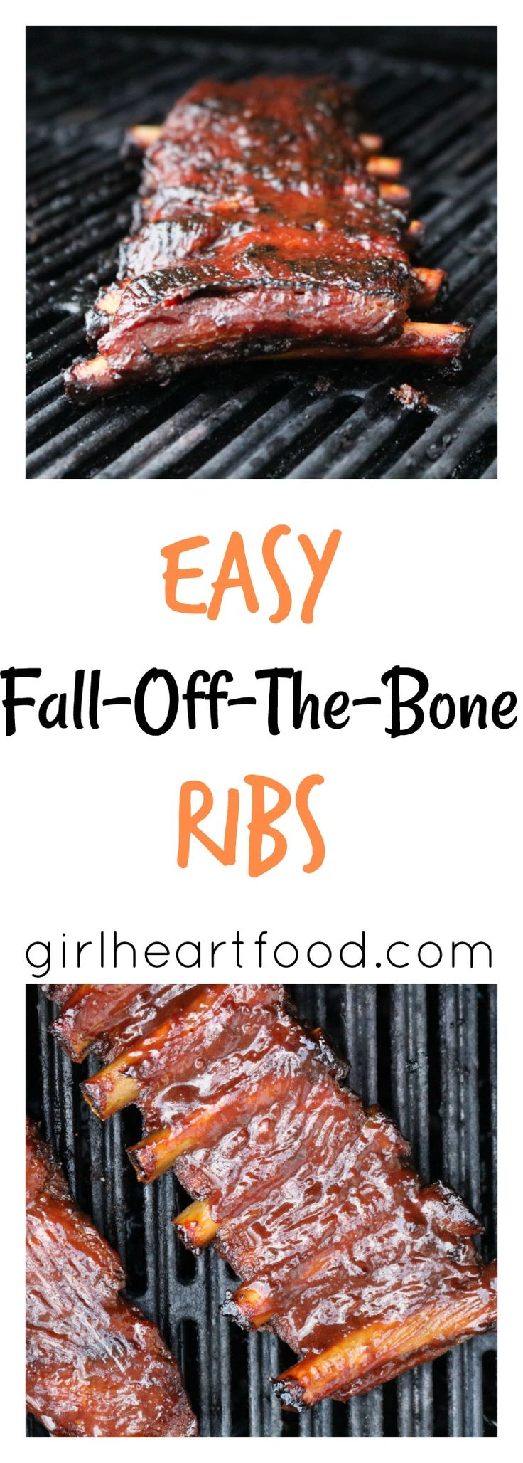 This recipe for easy fall-off-the-bone ribs is delicious! Pork ribs are coated with a simple spice mixture, baked, brushed with bbq sauce & then grilled. The only rib recipe you'll need!  #ribs #pork #grilling #bbq #barbecue #ovenbaked #dinner #spiceblend  via @Girlheartfood