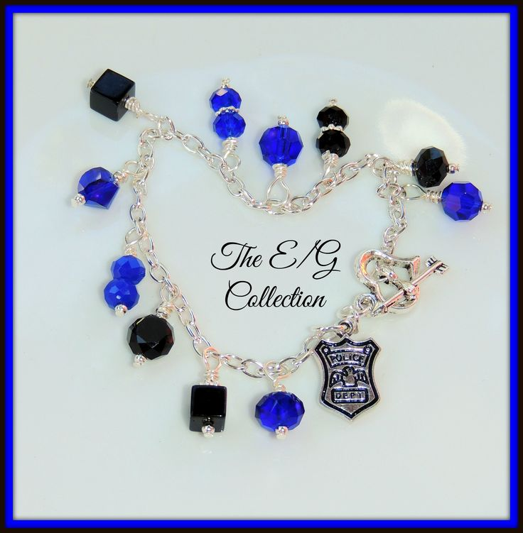 Designed by The E/G Collection. Womens Womans Crystal glass bead cluster dangle bracelet, Colors of Thin Blue Line, CHP, Highway Patrol, Police Department Dept, Police Wedding, Deputy Sheriff, State Trooper, Investigator, Detective, Federal Agent Wife