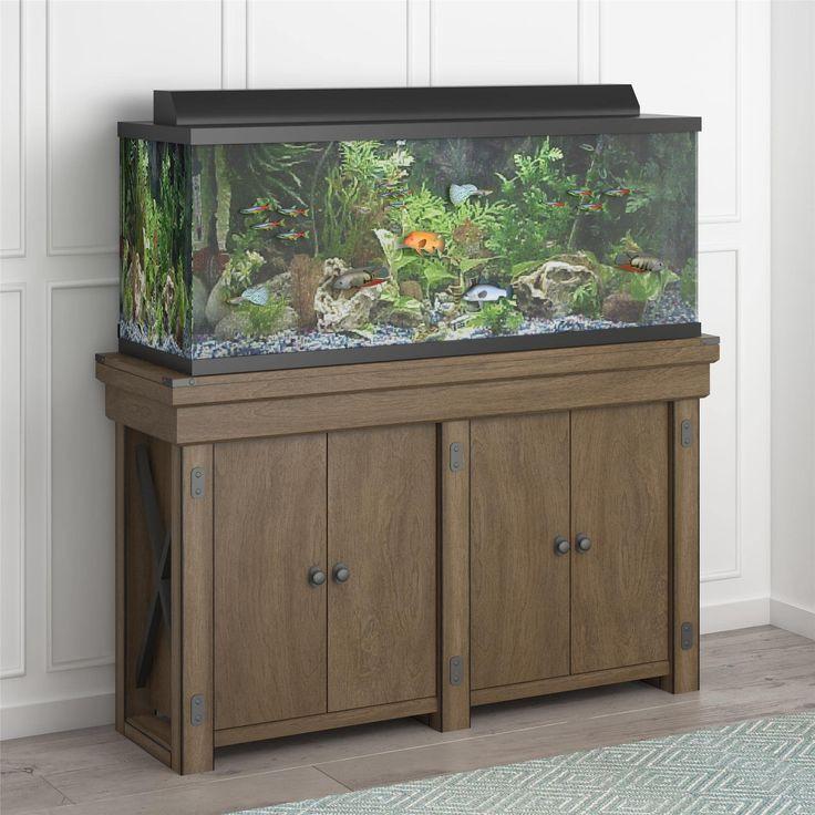 Avenue Greene Woodgate 55 Gallon Aquarium u0026 Entertainment Stand (Grey) & Best 25+ 55 gallon aquarium stand ideas on Pinterest | 55 gallon ...
