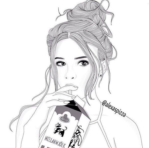 art, noir, dessiné, boucles d'oreille, sourcils, yeux, cheveux, instagram, lait, ongles, top, blanc