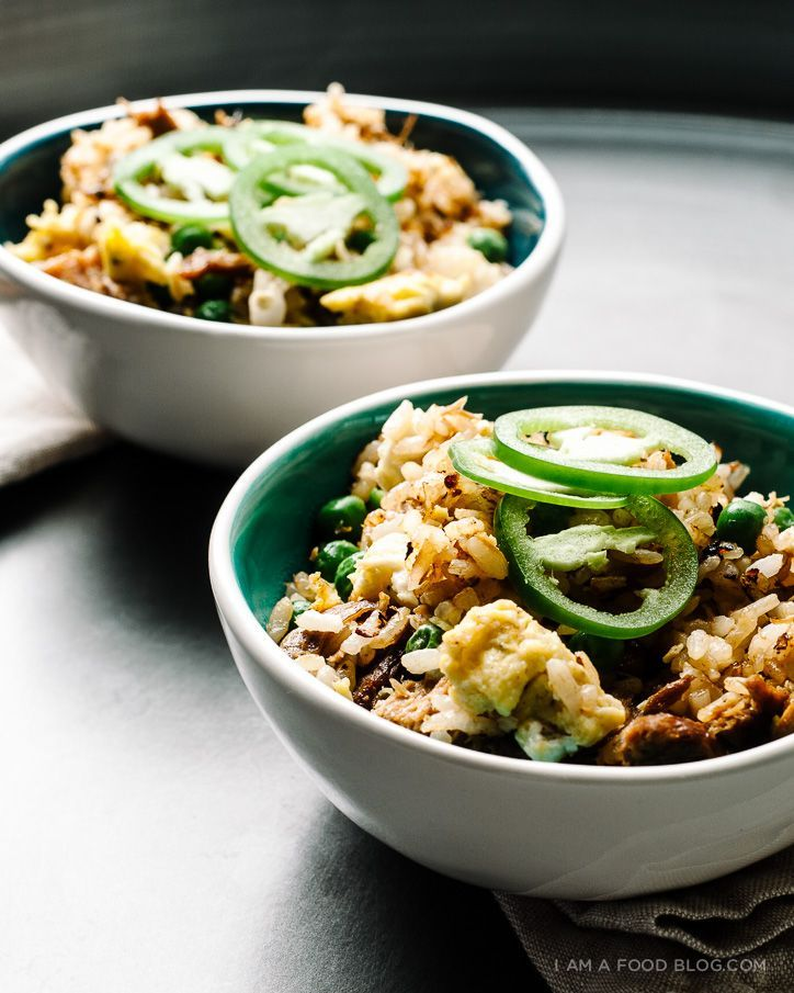 pulled pork fried rice recipe - www.iamafoodblog.com #recipe #pulledpork #friedrice