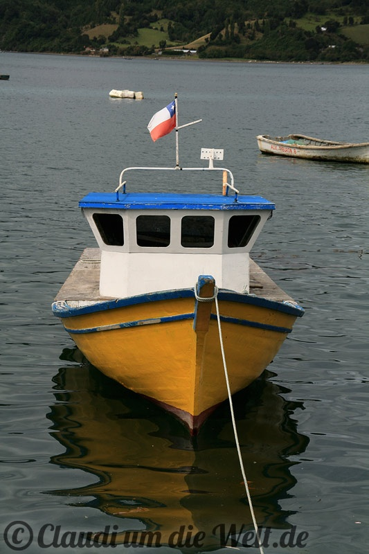 Boat in a bay of Chiloe Island, Chile