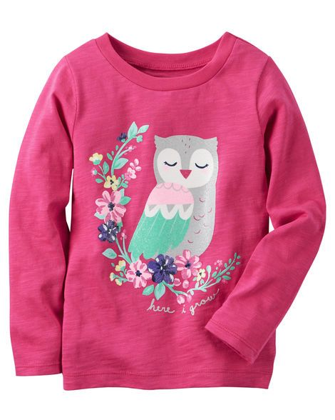 Made to match her favorite leggings, this owl graphic tee is crafted in soft slub jersey. She's recess bound in smart style with this go-together look!