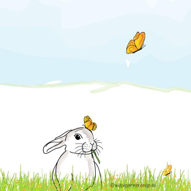 Kritzelbild-Osterhase, Hase im Grünen, Hase frisst Gras, Schmetterlinge, Fanatsie, Illustration Hase, Heidruns Kritzelbilder
