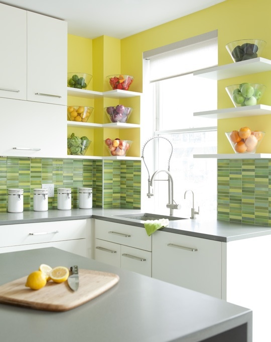 Yellow Kitchen With Yellow And Green Back Splash So Sunny