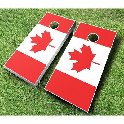 Canadian Flag Tournament Cornhole Set Brown Royal Blue - 708-BROWN/ROYAL, AJJ005-103