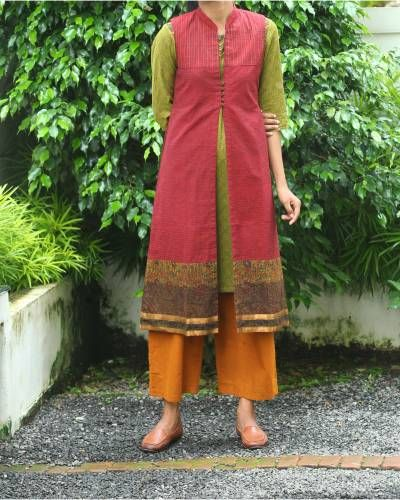 Olive Green Kurti With Maroon Overcoat I Shop at :http://www.thesecretlabel.com/shalini-james