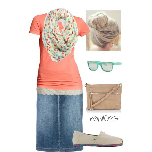 Perfect modest summer outfit! Fashionable, too! Denim skirt, tank and tee, floral scarf, toms, sunglasses