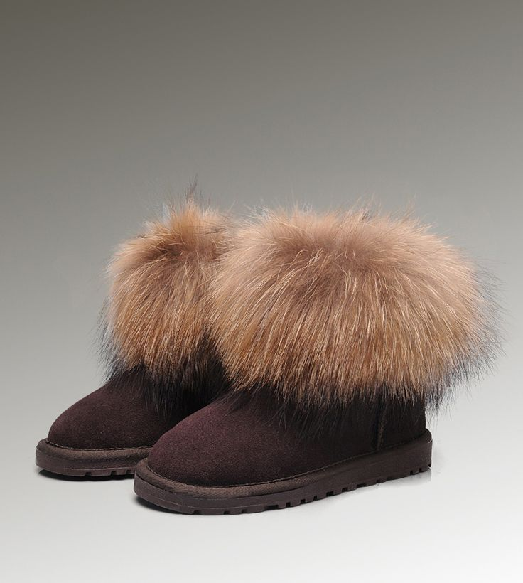 Ugg Fox Fur Mini 5854 Chocolate Boots