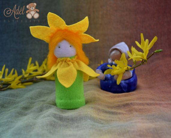 Yellow Daffodil - Waldorf inspired flower child for spring nature table