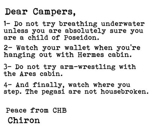 Letter to Camp Half-Blood campers and watch where you are walking newly  claimed Apollo children are not always that good at archery at first