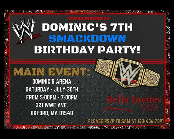 best 20+ wwe party ideas on pinterest | wrestling birthday parties, Birthday invitations