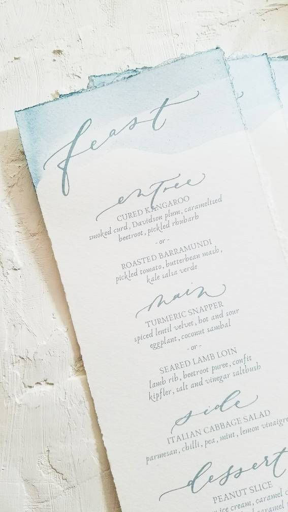 Ink-dipped, watercolor custom menu for wedding / event / party