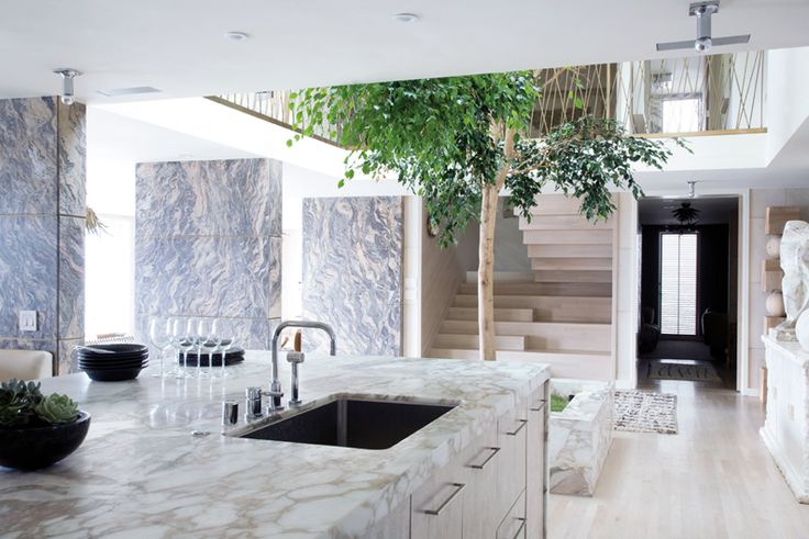 Airy, modern marble kitchenBeach House, Interiors, Trees Of Life, Dreams House, Kelly Wearstler, Indoor Trees, Open Kitchens, Granite Countertops, White Kitchens